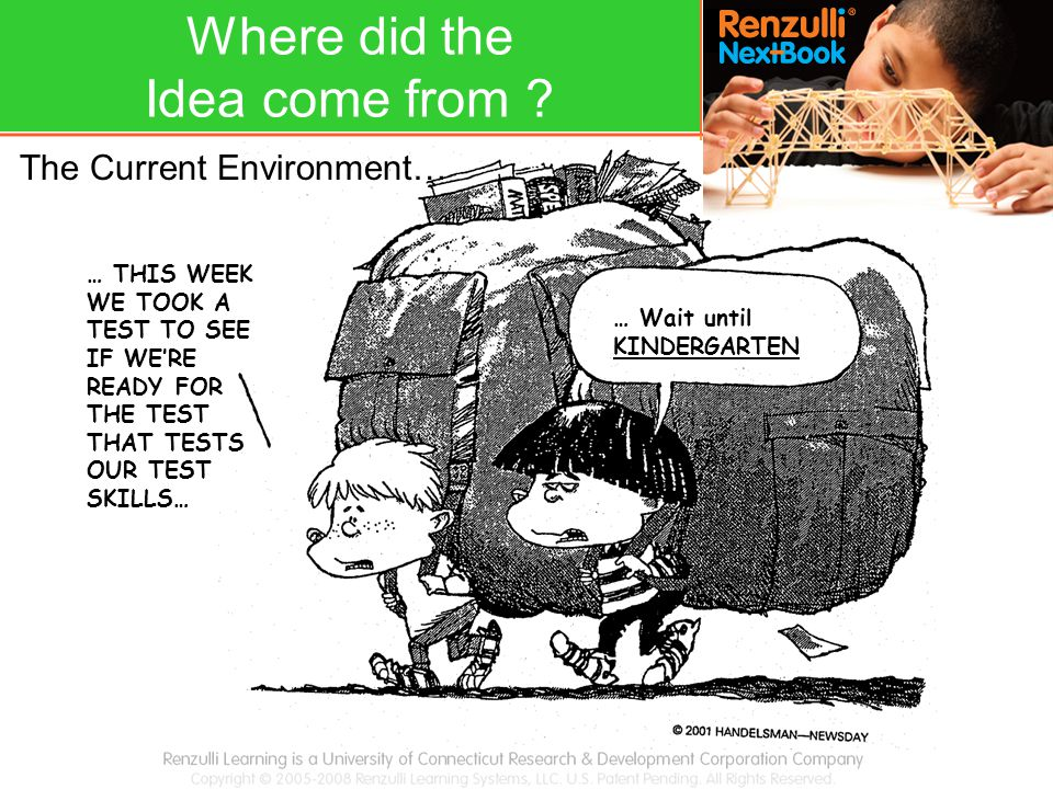 … Wait until KINDERGARTEN … THIS WEEK WE TOOK A TEST TO SEE IF WE'RE READY FOR THE TEST THAT TESTS OUR TEST SKILLS… The Current Environment… Where did the Idea come from