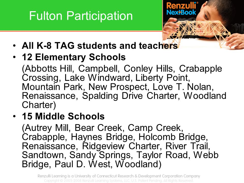 Fulton Participation All K-8 TAG students and teachers 12 Elementary Schools (Abbotts Hill, Campbell, Conley Hills, Crabapple Crossing, Lake Windward,