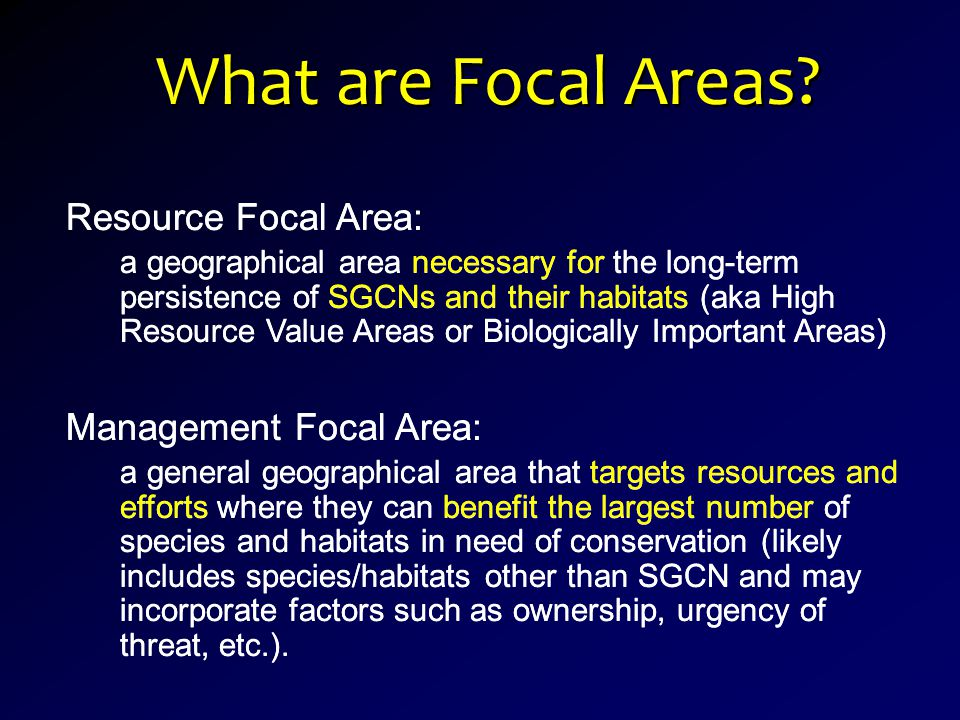 Resource Focal Area: a geographical area necessary for the long-term persistence of SGCNs and their habitats (aka High Resource Value Areas or Biologically Important Areas) Management Focal Area: a general geographical area that targets resources and efforts where they can benefit the largest number of species and habitats in need of conservation (likely includes species/habitats other than SGCN and may incorporate factors such as ownership, urgency of threat, etc.).