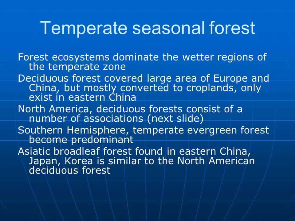 Temperate seasonal forest Forest ecosystems dominate the wetter regions of the temperate zone Deciduous forest covered large area of Europe and China,