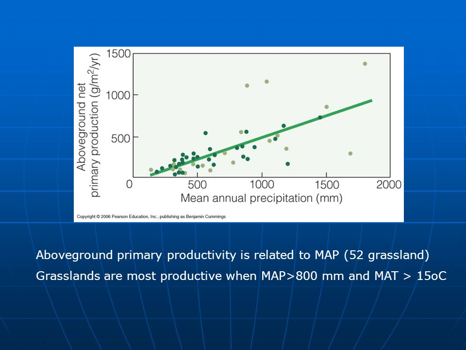 Aboveground primary productivity is related to MAP (52 grassland) Grasslands are most productive when MAP>800 mm and MAT > 15oC