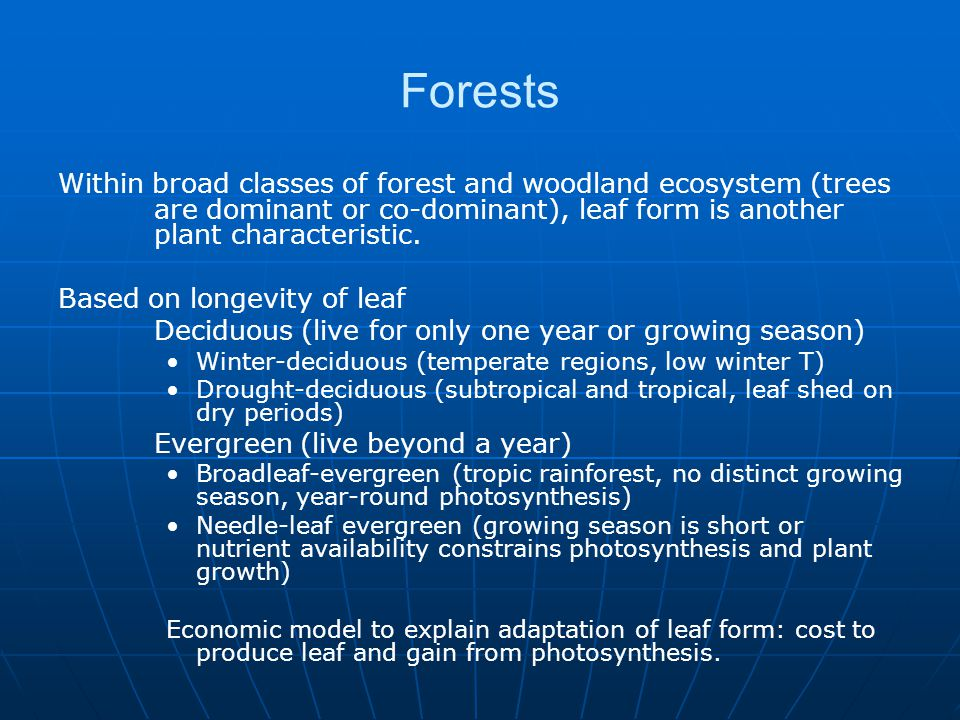 Concept of Biomes: Major terrestrial biome types (eight, nine, and varies): Tropical forest, temperate forest, conifer forest (taiga and boreal forest), tropical savanna, temperate grasslands, chaparral (shrublands), tundra, and desert.