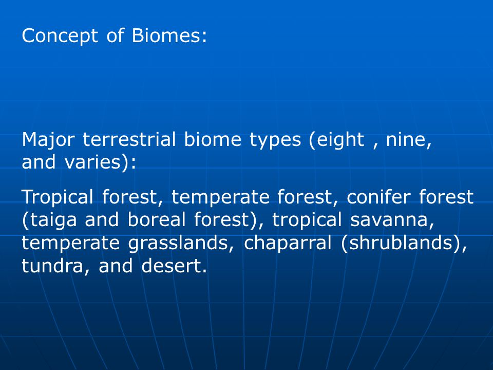 Concept of Biomes: Major terrestrial biome types (eight, nine, and varies): Tropical forest, temperate forest, conifer forest (taiga and boreal forest