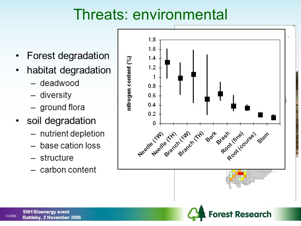 Threats: environmental Forest degradation habitat degradation –deadwood –diversity –ground flora soil degradation –nutrient depletion –base cation loss –structure –carbon content SNH Bioenergy event Battleby, 2 November 2006