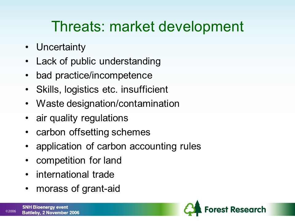 Threats: market development Uncertainty Lack of public understanding bad practice/incompetence Skills, logistics etc.