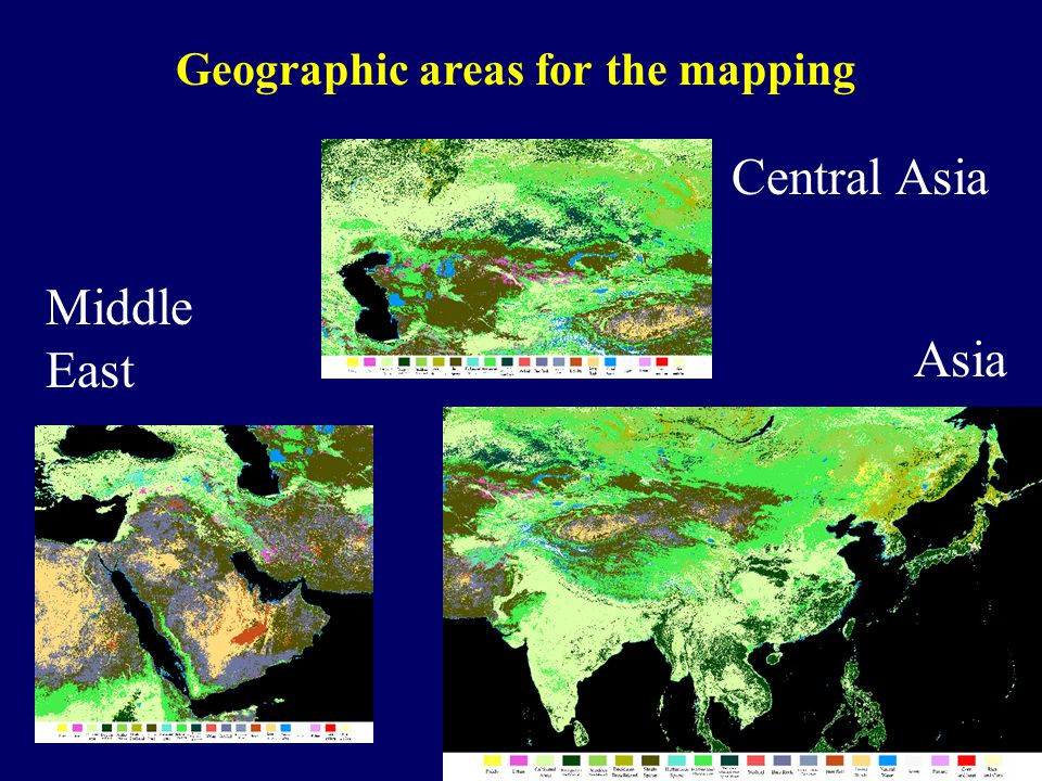 Geographic areas for the mapping Asia Central Asia Middle East