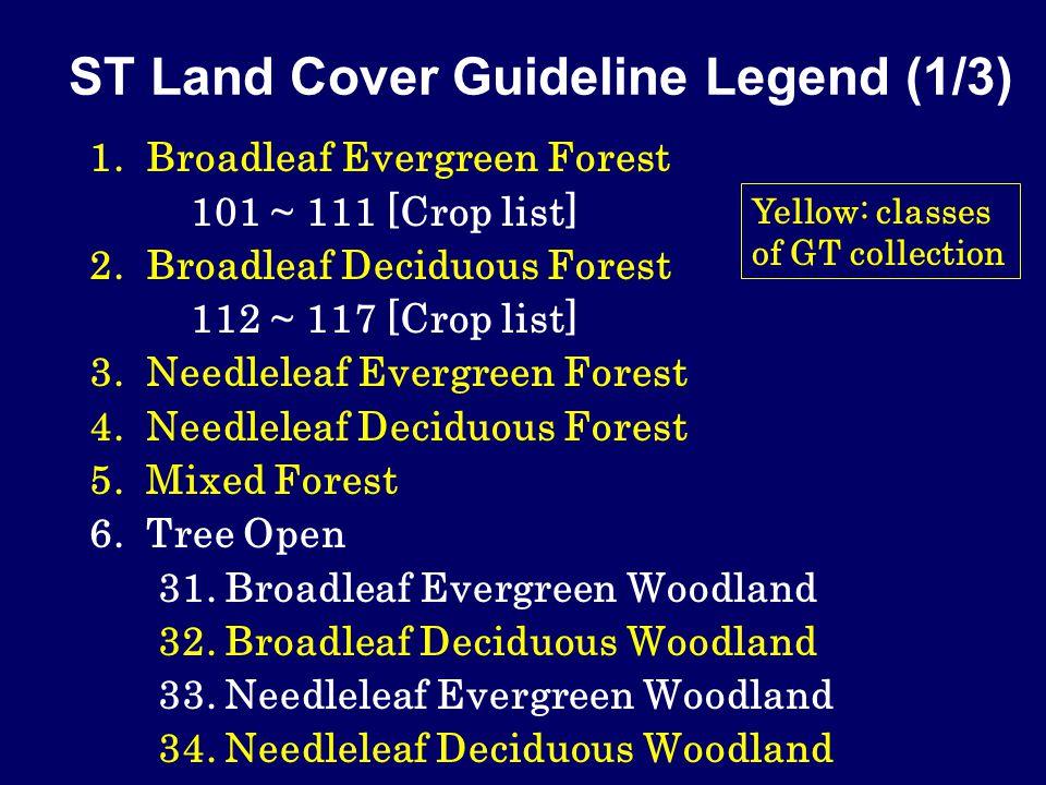 ST Land Cover Guideline Legend (1/3) 1. Broadleaf Evergreen Forest 101 ~ 111 [Crop list] 2.