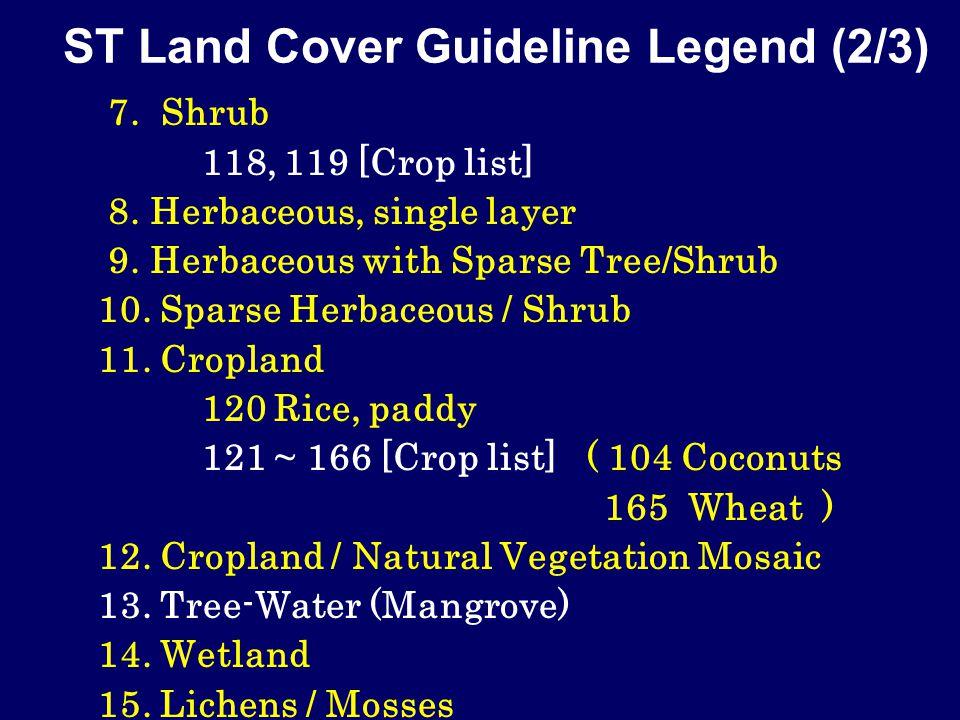 ST Land Cover Guideline Legend (2/3) 7. Shrub 118, 119 [Crop list] 8.