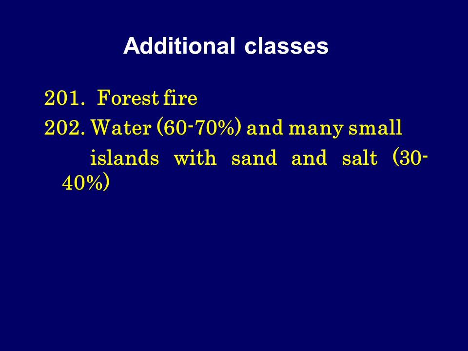Additional classes 201. Forest fire 202.