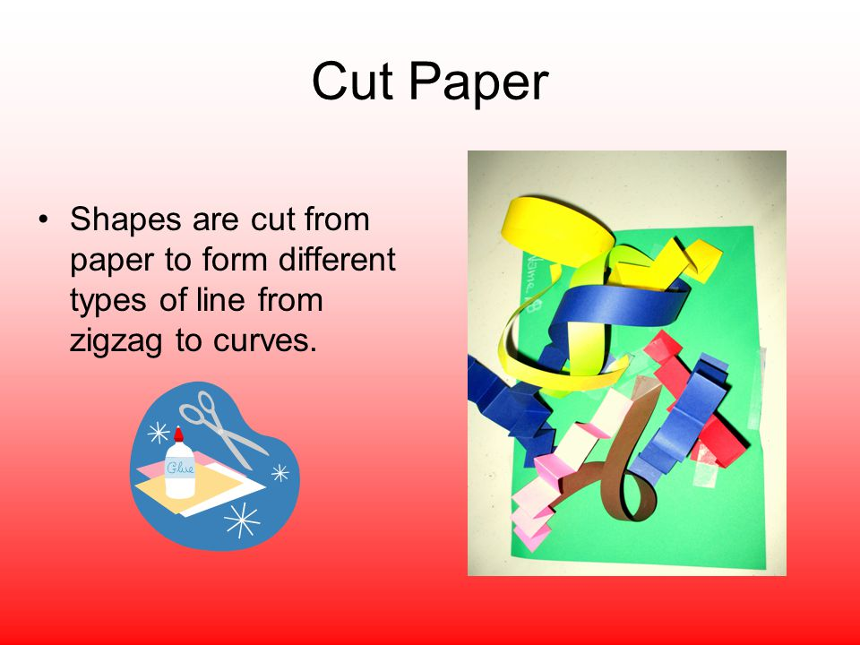 Cut Paper Shapes are cut from paper to form different types of line from zigzag to curves.