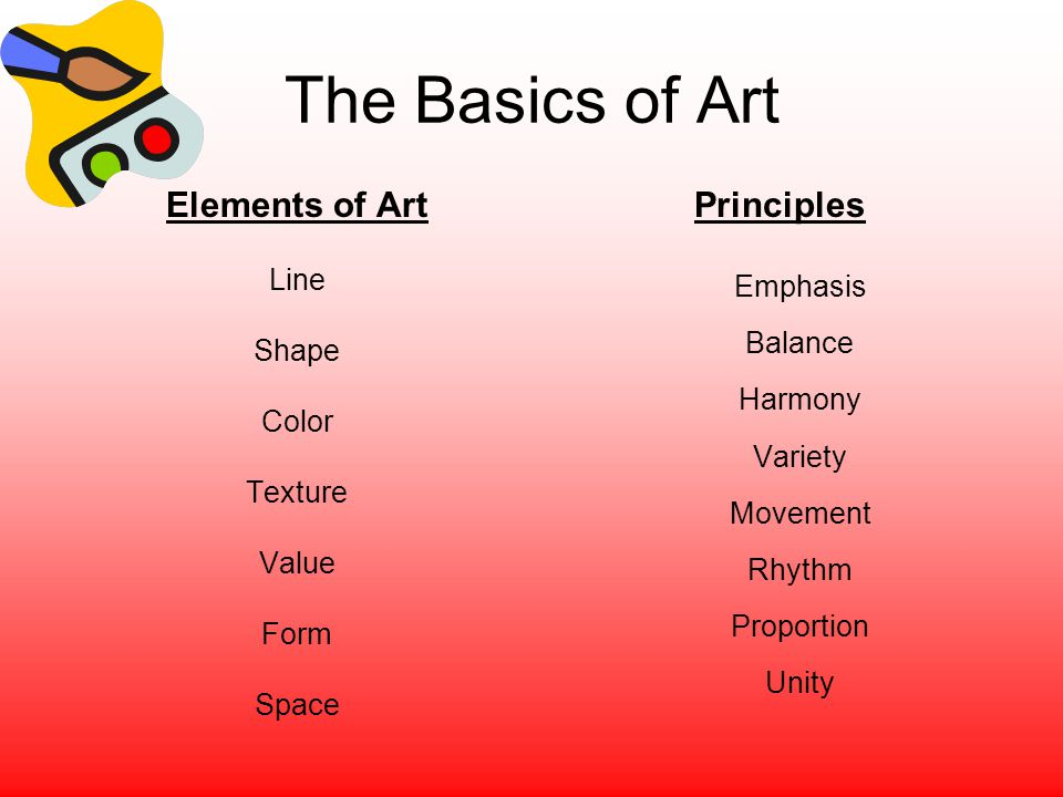 The Basics of Art Elements of Art Line Shape Color Texture Value Form Space Principles Emphasis Balance Harmony Variety Movement Rhythm Proportion Uni