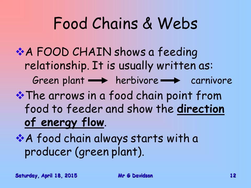 Saturday, April 18, 2015Saturday, April 18, 2015Saturday, April 18, 2015Saturday, April 18, 201512Mr G Davidson Food Chains & Webs  A FOOD CHAIN show