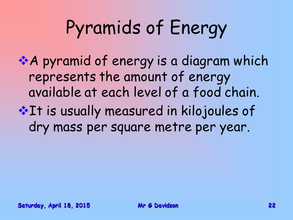Saturday, April 18, 2015Saturday, April 18, 2015Saturday, April 18, 2015Saturday, April 18, 201522Mr G Davidson Pyramids of Energy  A pyramid of energy is a diagram which represents the amount of energy available at each level of a food chain.