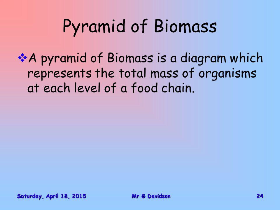 Saturday, April 18, 2015Saturday, April 18, 2015Saturday, April 18, 2015Saturday, April 18, 201524Mr G Davidson Pyramid of Biomass  A pyramid of Biom