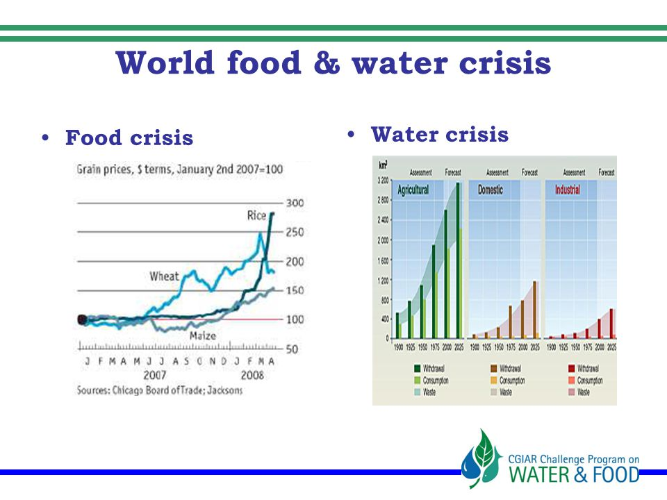 …World Water Crisis: Declining per capita availability of water 0 2 4 6 8 10 12 14 16 19601990 2025 Africa World Asia MENA ' 000 m 3