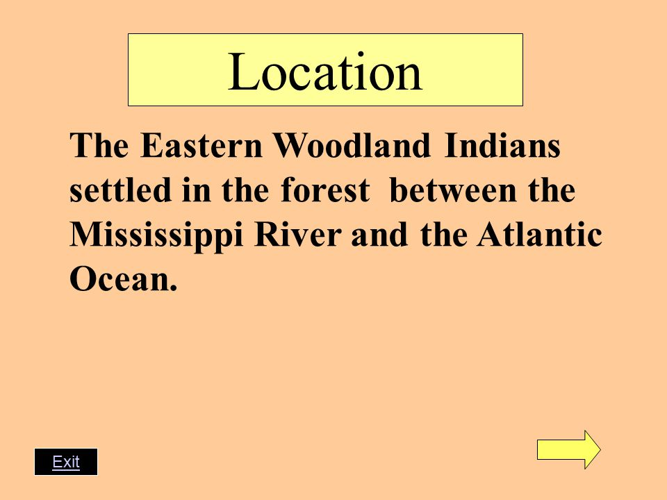 Location The Eastern Woodland Indians settled in the forest between the Mississippi River and the Atlantic Ocean.