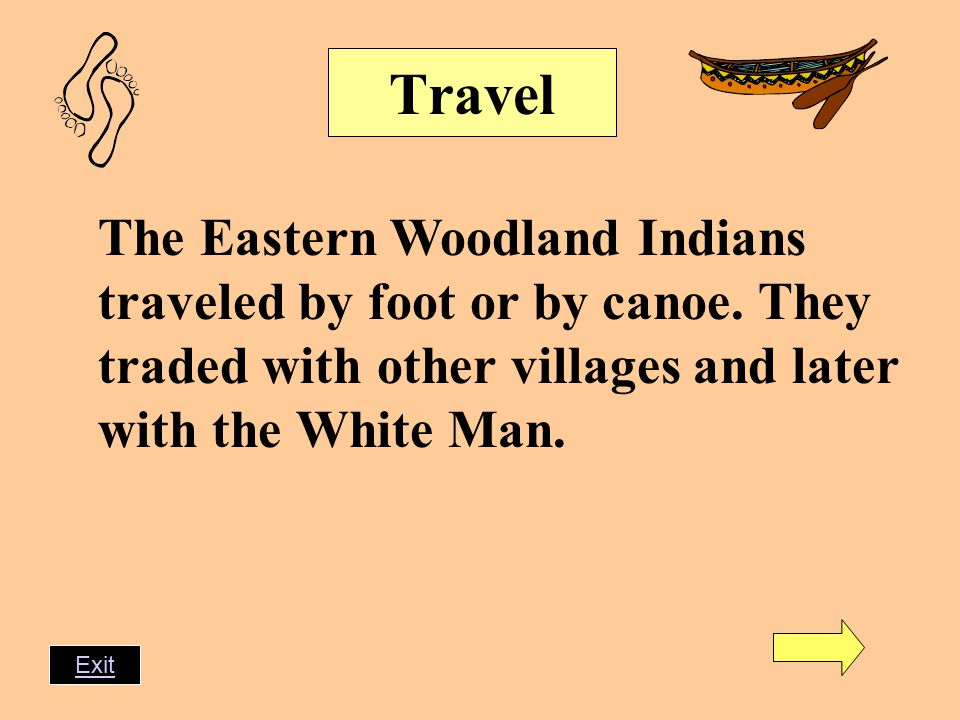Travel The Eastern Woodland Indians traveled by foot or by canoe.