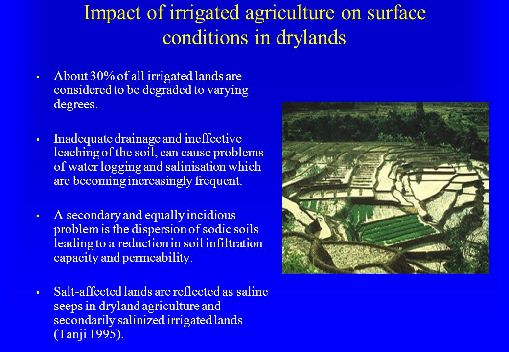 Impact of irrigated agriculture on surface conditions in drylands About 30% of all irrigated lands are considered to be degraded to varying degrees.