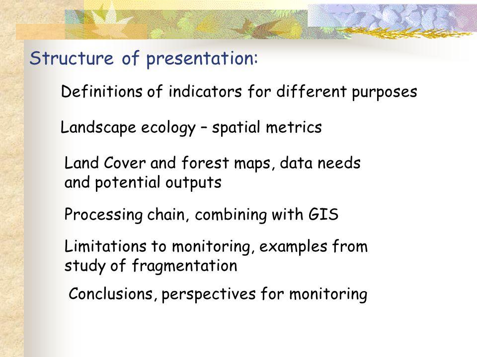 Examples of spatial metrics :