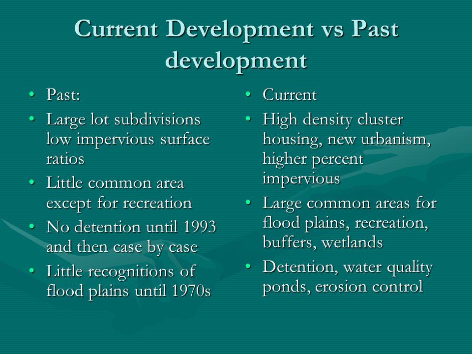 Current Development vs Past development Past:Past: Large lot subdivisions low impervious surface ratiosLarge lot subdivisions low impervious surface r