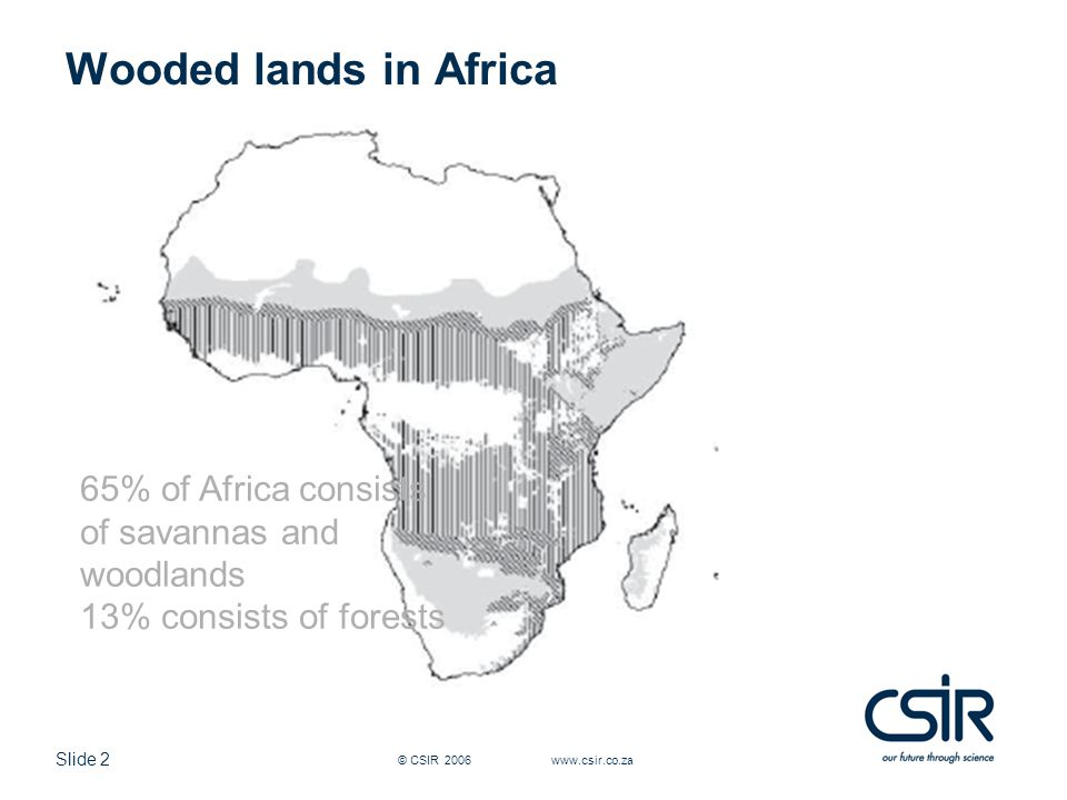 Slide 2 © CSIR 2006 www.csir.co.za Wooded lands in Africa 65% of Africa consists of savannas and woodlands 13% consists of forests