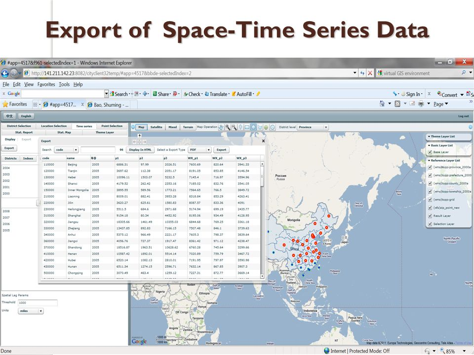Export of Space-Time Series Data