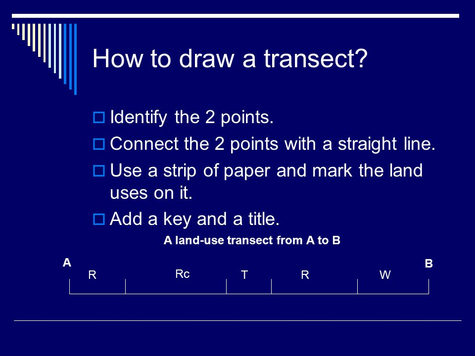 How to draw a transect.  Identify the 2 points.  Connect the 2 points with a straight line.