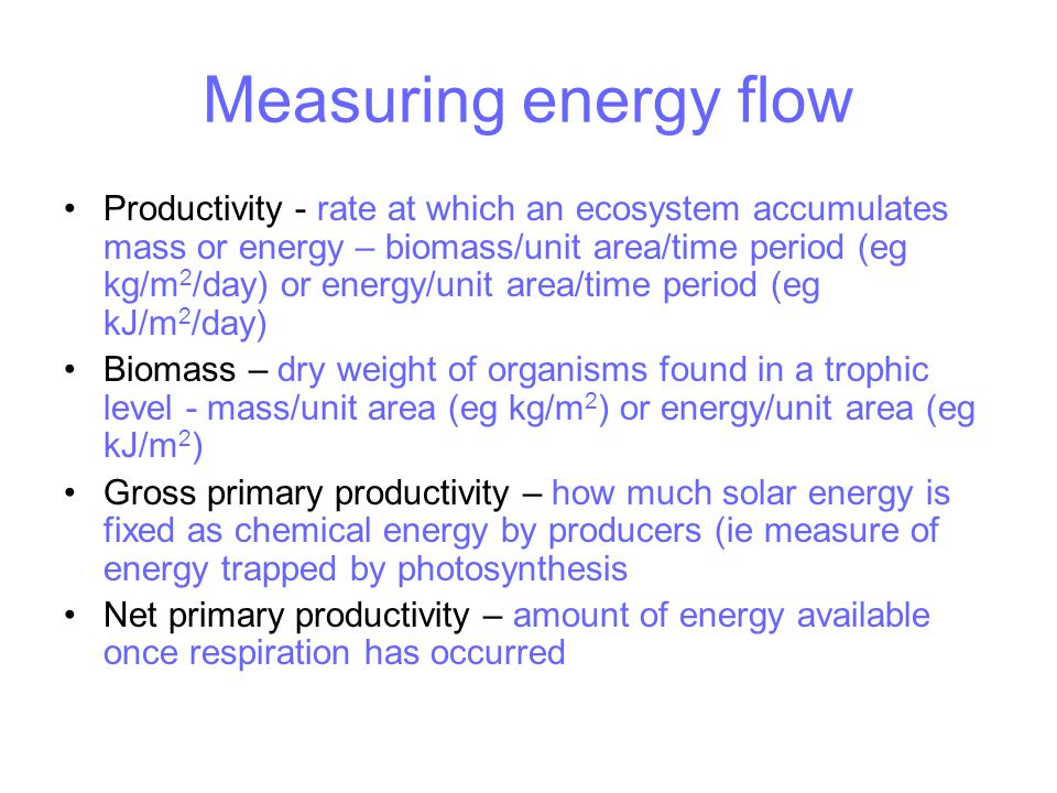 Measuring energy flow Productivity - rate at which an ecosystem accumulates mass or energy – biomass/unit area/time period (eg kg/m 2 /day) or energy/unit area/time period (eg kJ/m 2 /day) Biomass – dry weight of organisms found in a trophic level - mass/unit area (eg kg/m 2 ) or energy/unit area (eg kJ/m 2 ) Gross primary productivity – how much solar energy is fixed as chemical energy by producers (ie measure of energy trapped by photosynthesis Net primary productivity – amount of energy available once respiration has occurred
