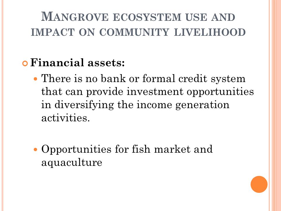 M ANGROVE ECOSYSTEM USE AND IMPACT ON COMMUNITY LIVELIHOOD Financial assets: There is no bank or formal credit system that can provide investment opportunities in diversifying the income generation activities.