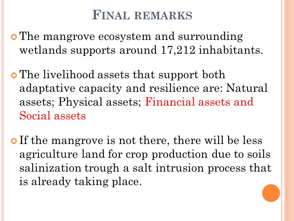F INAL REMARKS The mangrove ecosystem and surrounding wetlands supports around 17,212 inhabitants.
