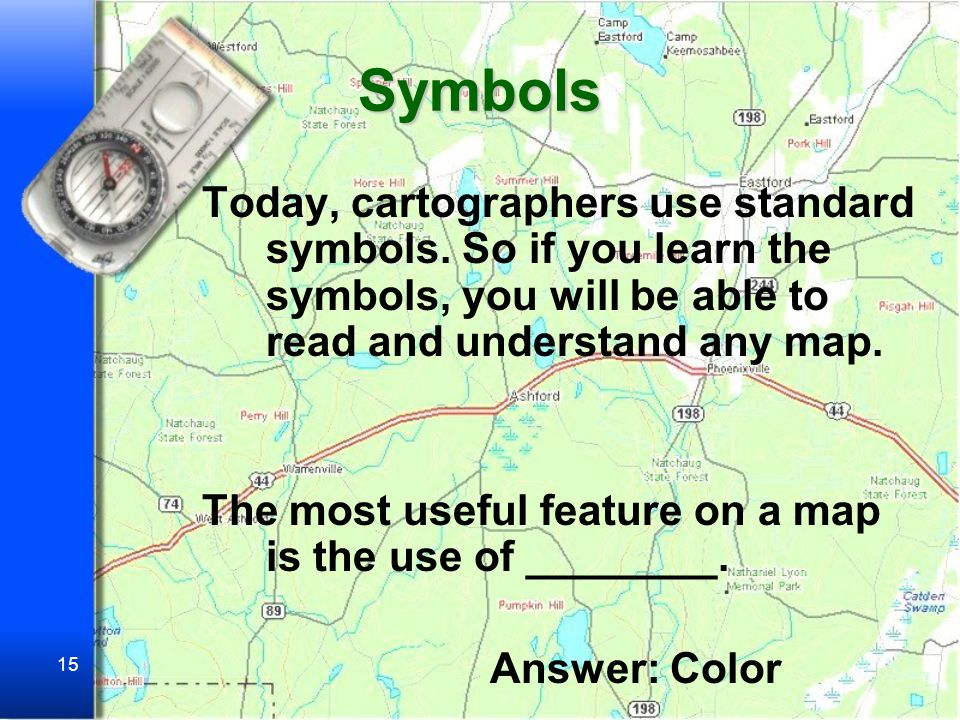 14 Symbols Symbols on Topographical maps are always the same.