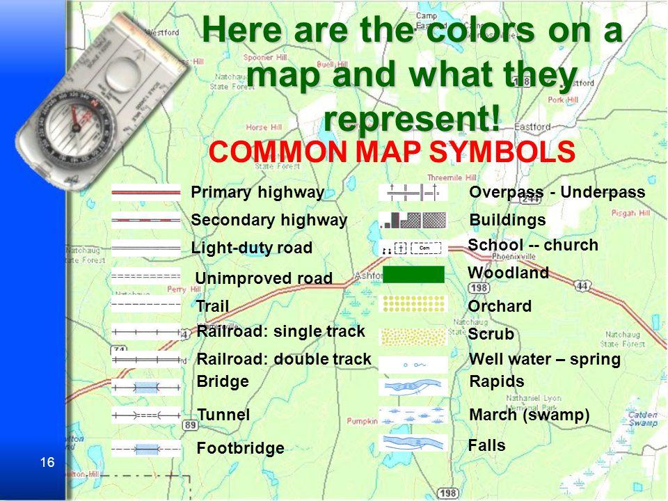 15 Symbols Today, cartographers use standard symbols.