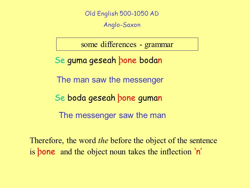 Old English 500-1050 AD Anglo-Saxon some differences - grammar The man saw the messenger Se guma geseah þ one bodan Se boda geseah þ one guman The messenger saw the man Therefore, the word the before the object of the sentence is þ one and the object noun takes the inflection 'n'