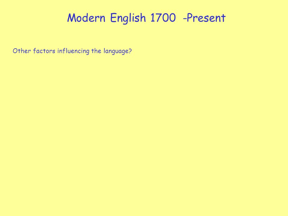 Modern English 1700 -Present Other factors influencing the language?
