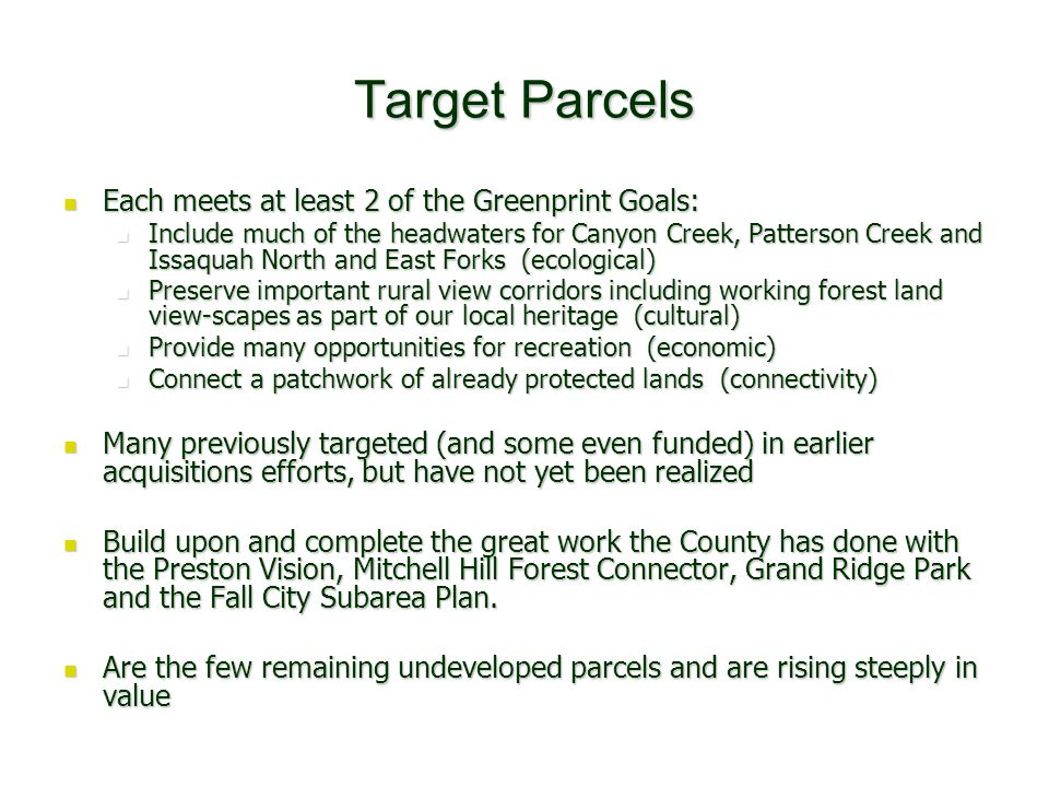 Private Conservation Wins 10/10/06 Grand Ridge area neighbors meeting provided: 10/10/06 Grand Ridge area neighbors meeting provided: a summary of what it took to protect what we have today a summary of what it took to protect what we have today an update on the Grand Ridge Park plan an update on the Grand Ridge Park plan info on King County PBRS and Managed Forest programs info on King County PBRS and Managed Forest programs info on conservation options and stewardship tools info on conservation options and stewardship tools The Results: The Results: 37 people showed up, a great many were new faces 37 people showed up, a great many were new faces 25 properties were identified on our map as belonging to people in the room 25 properties were identified on our map as belonging to people in the room 23 properties totaling 113 acres enrolled 84 acres in the PBRS program 23 properties totaling 113 acres enrolled 84 acres in the PBRS program At least 3 restoration/habitat projects are being planned in 2 neighborhoods At least 3 restoration/habitat projects are being planned in 2 neighborhoods