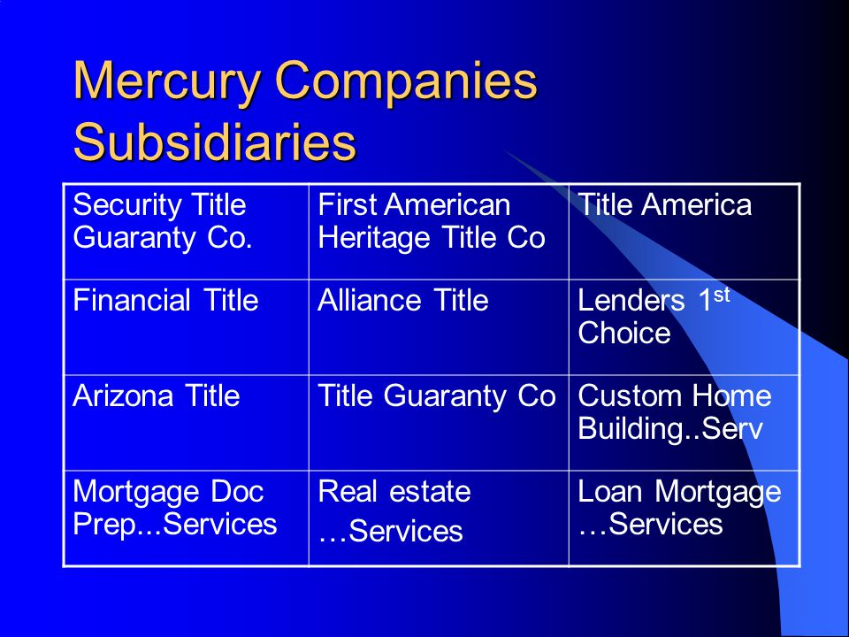 Mercury Companies Subsidiaries Security Title Guaranty Co. First American Heritage Title Co Title America Financial TitleAlliance TitleLenders 1 st Ch