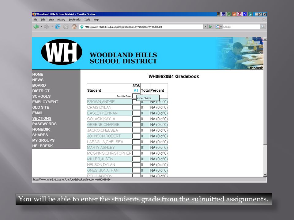 You will be able to enter the students grade from the submitted assignments.