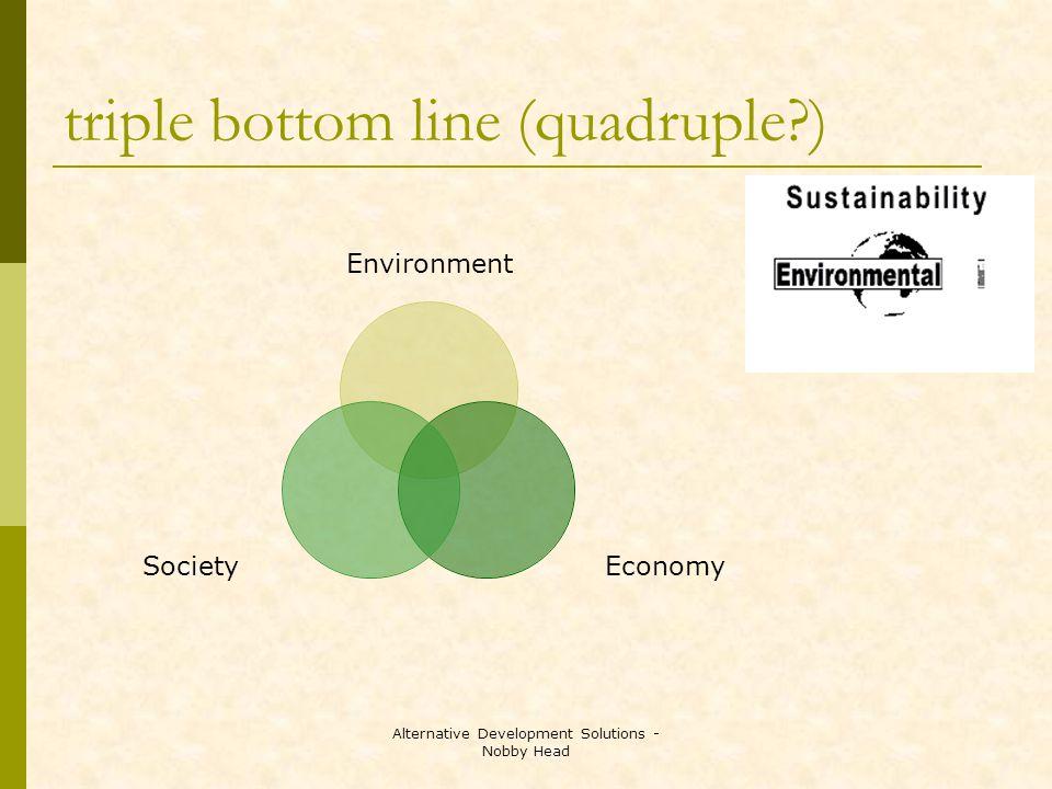Alternative Development Solutions - Nobby Head triple bottom line (quadruple ) Environment EconomySociety