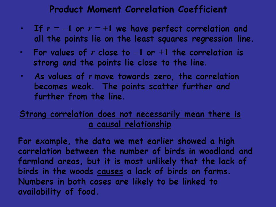 Product Moment Correlation Coefficient If r =  1 or r = +1 we have perfect correlation and all the points lie on the least squares regression line. F