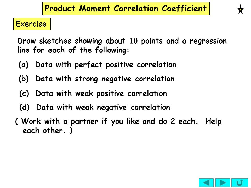 Product Moment Correlation Coefficient Exercise Draw sketches showing about 10 points and a regression line for each of the following: (a) Data with p