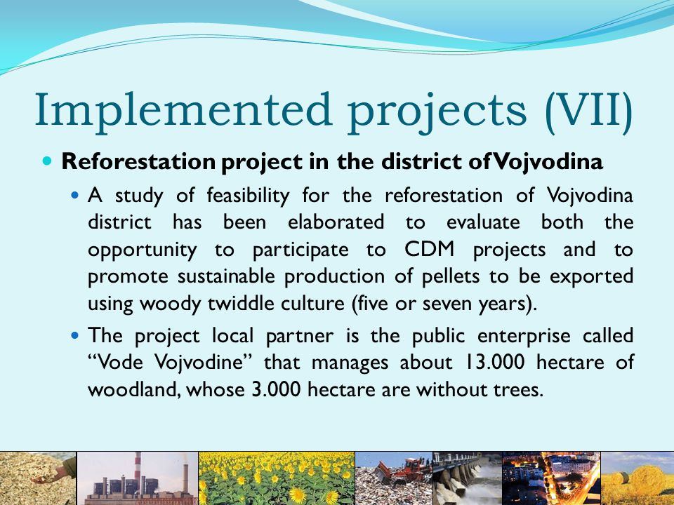 Implemented projects (VII) Reforestation project in the district of Vojvodina A study of feasibility for the reforestation of Vojvodina district has been elaborated to evaluate both the opportunity to participate to CDM projects and to promote sustainable production of pellets to be exported using woody twiddle culture (five or seven years).