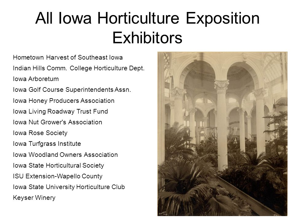 All Iowa Horticulture Exposition Exhibitors Hometown Harvest of Southeast Iowa Indian Hills Comm.
