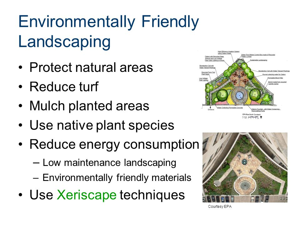 Environmentally Friendly Landscaping Protect natural areas Reduce turf Mulch planted areas Use native plant species Reduce energy consumption – Low maintenance landscaping –Environmentally friendly materials Use Xeriscape techniques Courtesy EPA