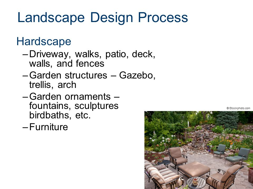 Landscape Design Process Hardscape –Driveway, walks, patio, deck, walls, and fences –Garden structures – Gazebo, trellis, arch –Garden ornaments – fountains, sculptures birdbaths, etc.
