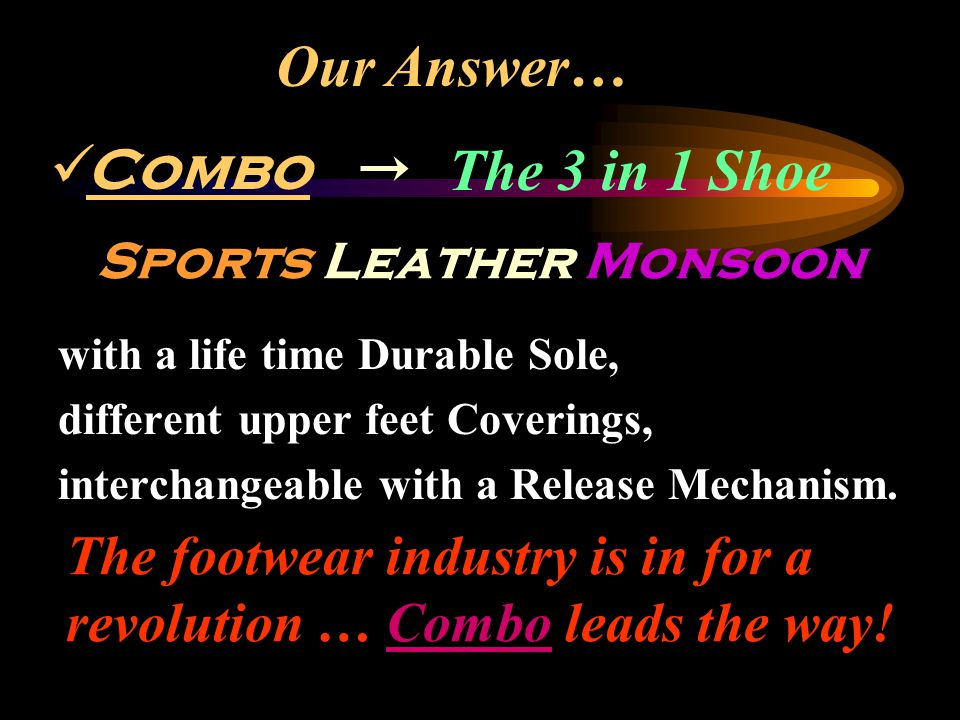 The 3 in 1 Shoe with a life time Durable Sole, different upper feet Coverings, interchangeable with a Release Mechanism. Our Answer… Sports Leather Mo