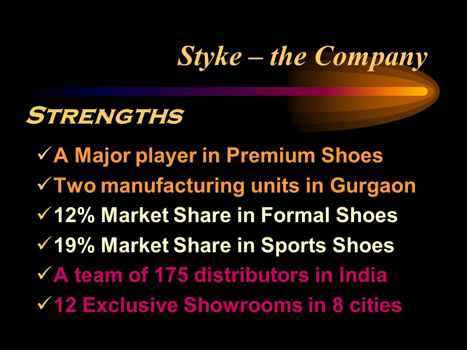 Styke – the Company ‬Stiff competition, especially from foreign brands Threats