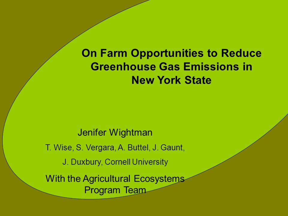 On Farm Opportunities to Reduce Greenhouse Gas Emissions in New York State Jenifer Wightman T.