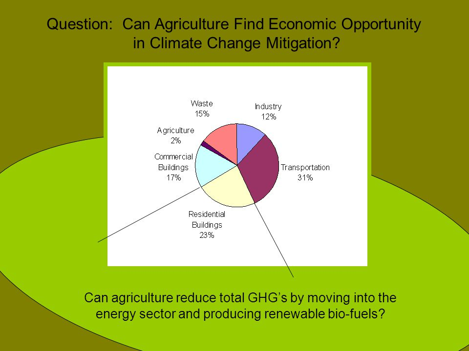 Can agriculture reduce total GHG's by moving into the energy sector and producing renewable bio-fuels? Question: Can Agriculture Find Economic Opportu
