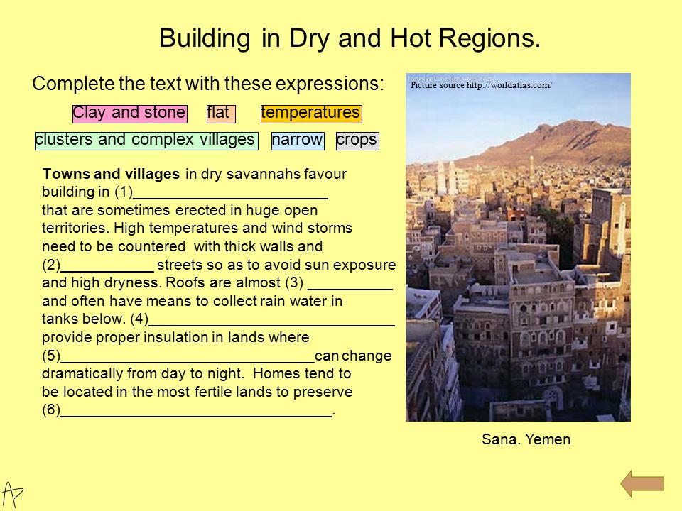 Towns and villages in dry savannahs favour building in (1)_______________________ that are sometimes erected in huge open territories. High temperatur