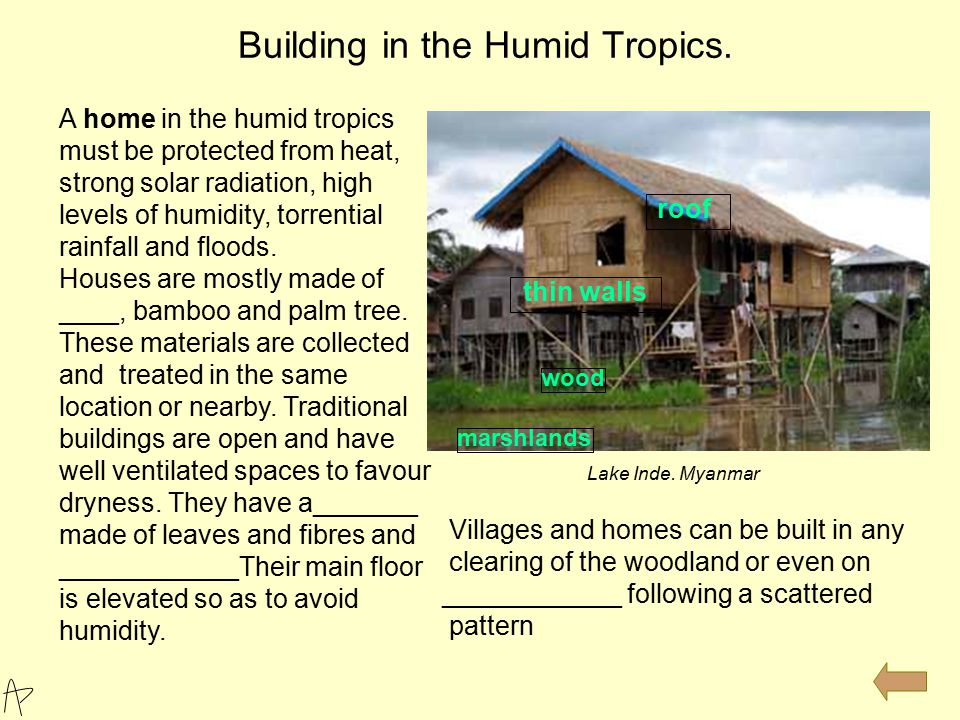 Building in the Humid Tropics. Lake Inde. Myanmar A home in the humid tropics must be protected from heat, strong solar radiation, high levels of humi